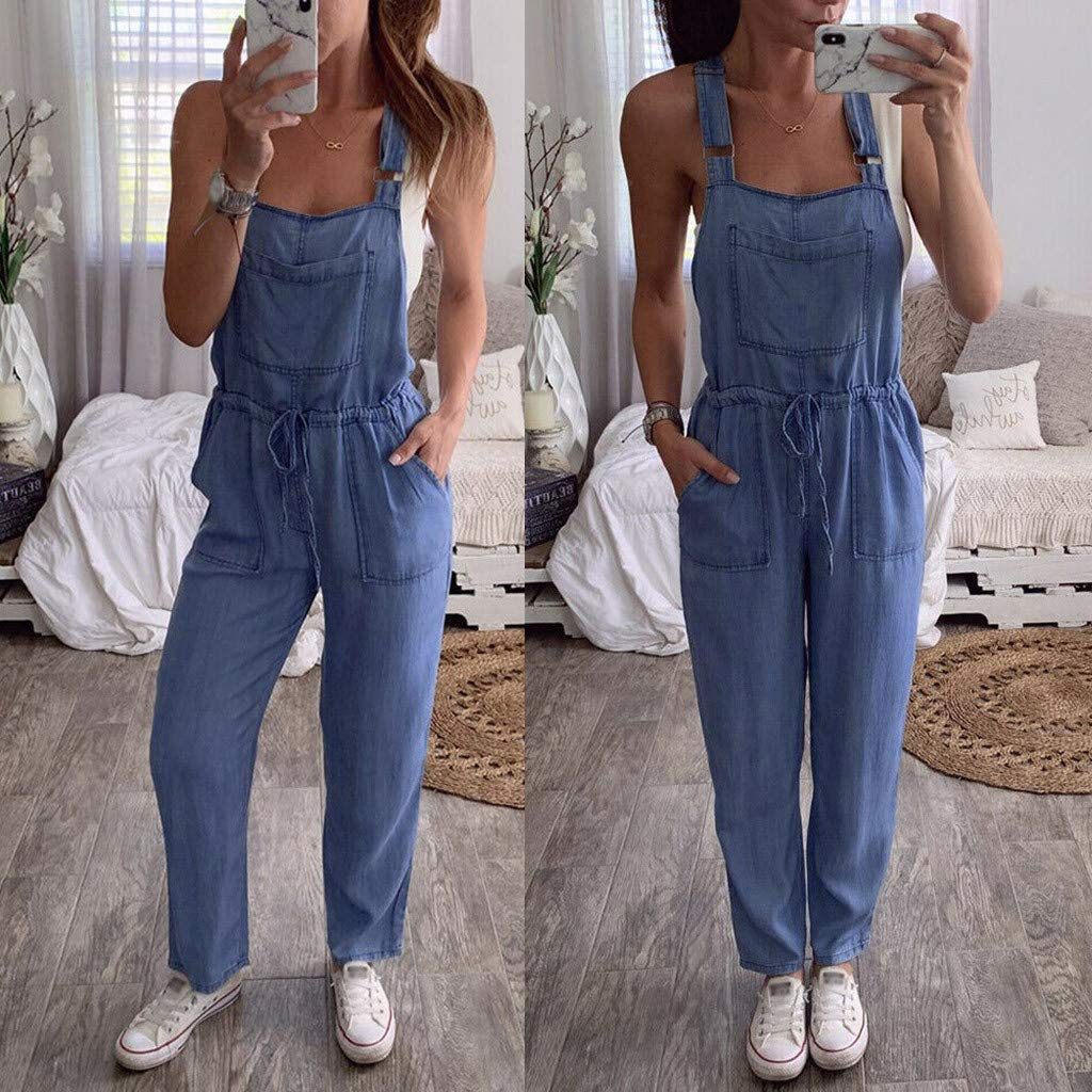 AMhomely Women One-Piece Jumpsuits Overalls Denim Jeans Bib Trousers Long Pants Dungarees Womens Baggy Dungarees Long Playsuit Plus Size Pants//Dress Rompers UK Size 6-26
