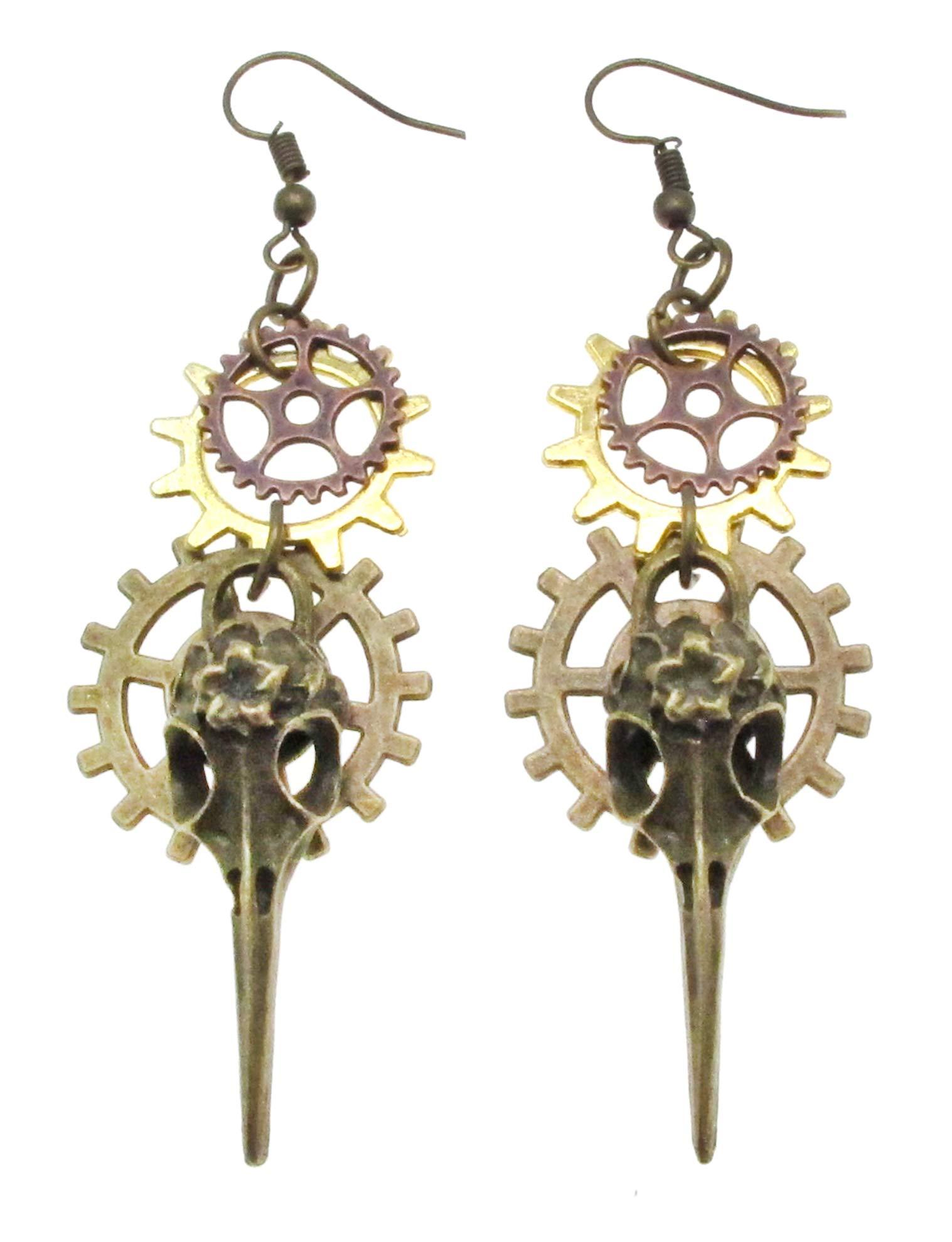 SAE99 Steampunk Gear Collection Dangle Drop Earrings 3