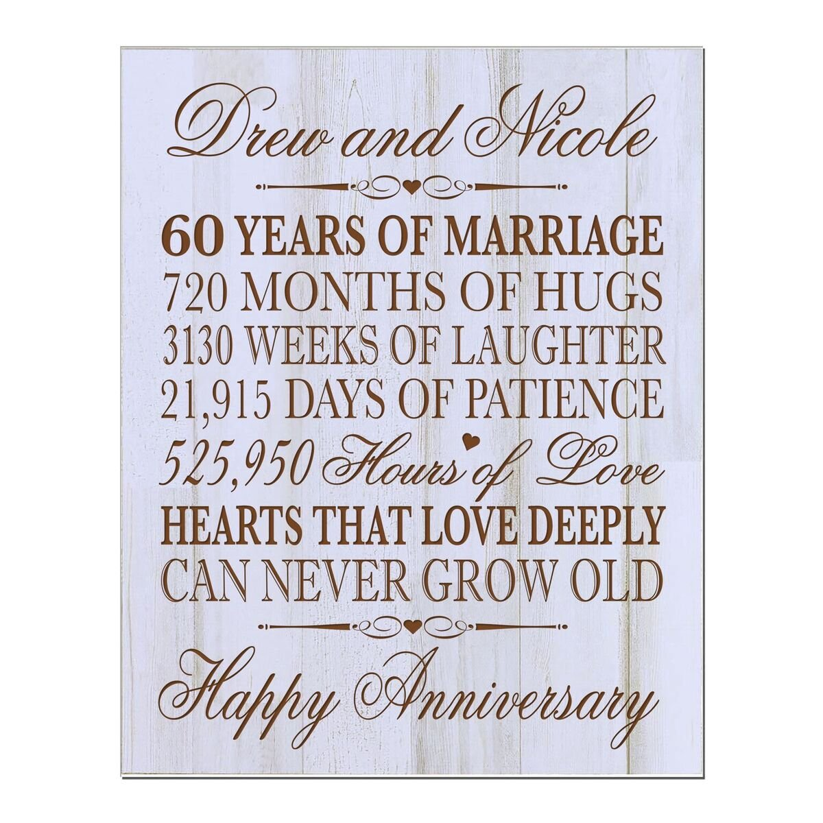 LifeSong Milestones Personalized 60th Wedding Anniversary Wall Plaque Gifts for Couple, Custom Made 60th for Her,60th 12'' W X 15'' H Wall Plaque (DW) by LifeSong Milestones (Image #2)