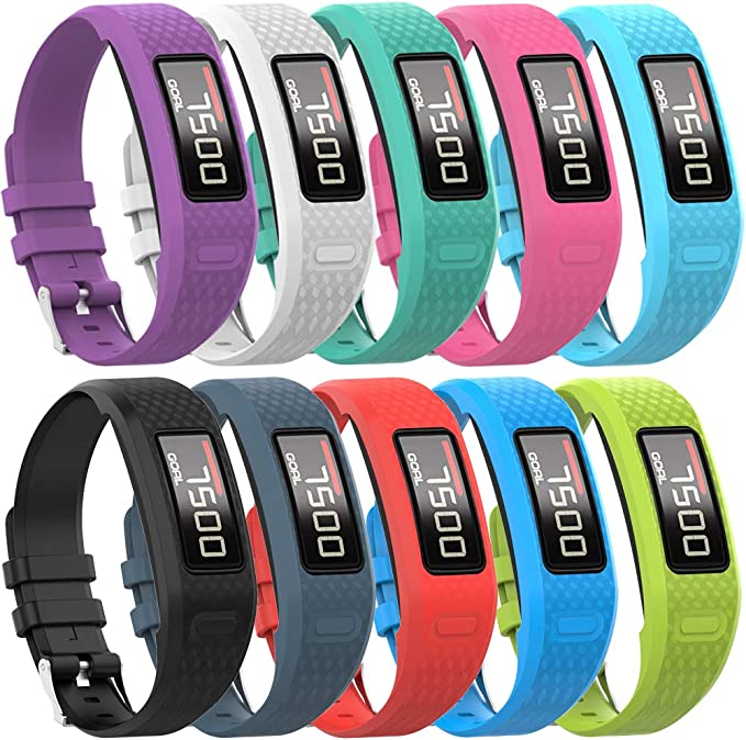 Black Multicolor Large Wrist Strap Replacement for Garmin Vivofit 1//2
