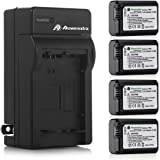 Powerextra Battery (4-Pack) and Charger for Sony NP-FW50 and Sony Alpha a6500, Alpha a6300, Alpha a6000, Alpha a7 II…