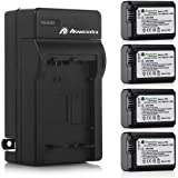 Powerextra Battery (4-Pack) and Charger for Sony NP-FW50 and Sony Alpha a6500, Alpha a6300, Alpha a6000, Alpha a7 II, Alpha a