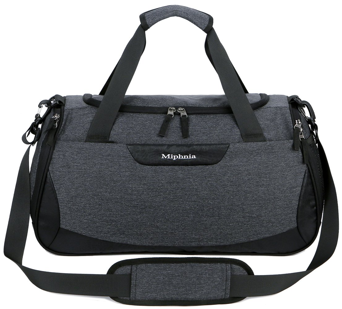 Miphnia Sports Gym Bag 20'' Travel Duffel Bag with Shoes Compartment for Women and Men (Dark Grey)