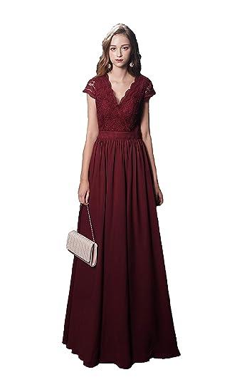Inmagicdress Burgundy Bridesmaid Dresses Long Sleeves Lace Chiffon