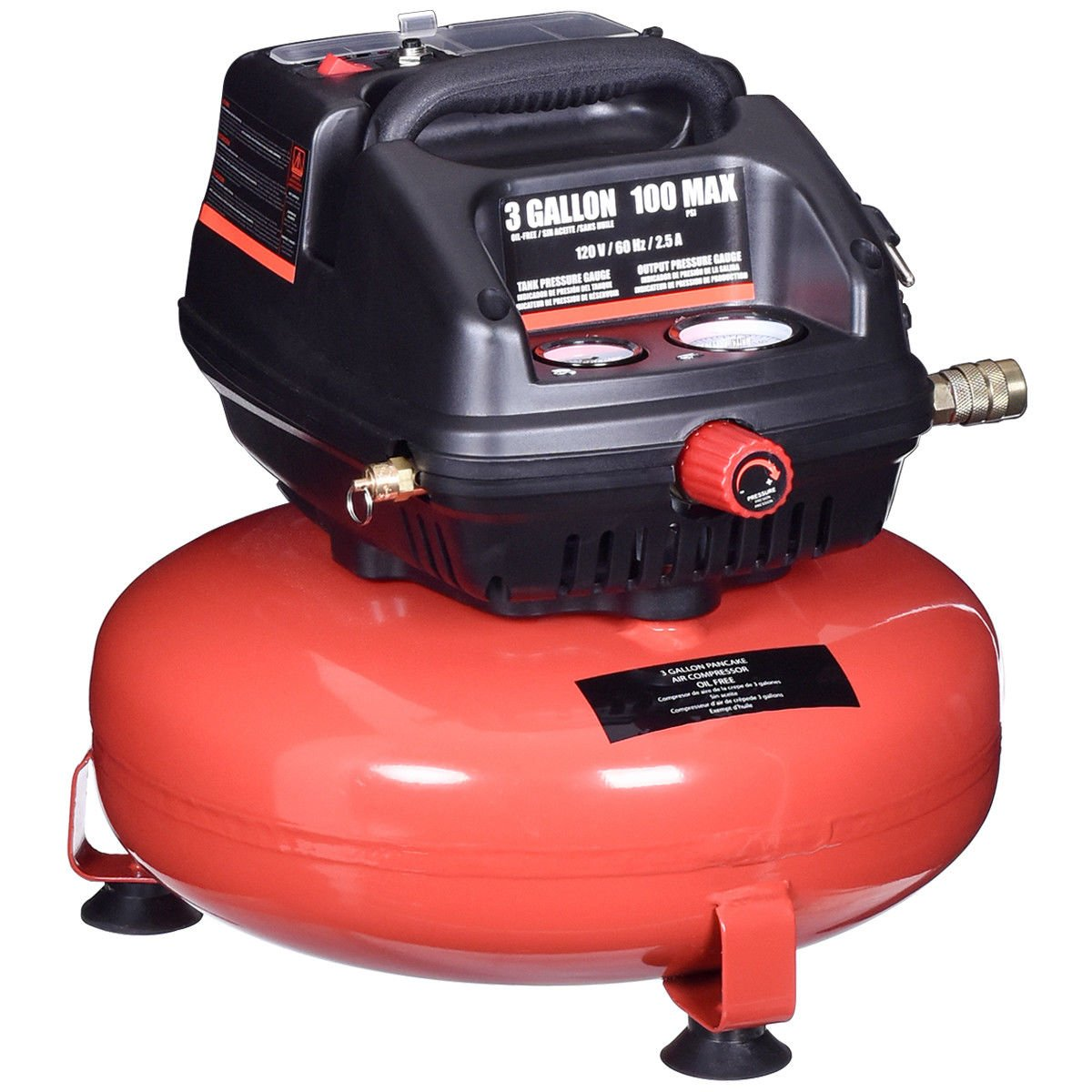 Goplus Oil-Free Air Pancake Compressor Portable Quiet (3 Gallon 100 PSI 0.5HP Compressor) by Goplus