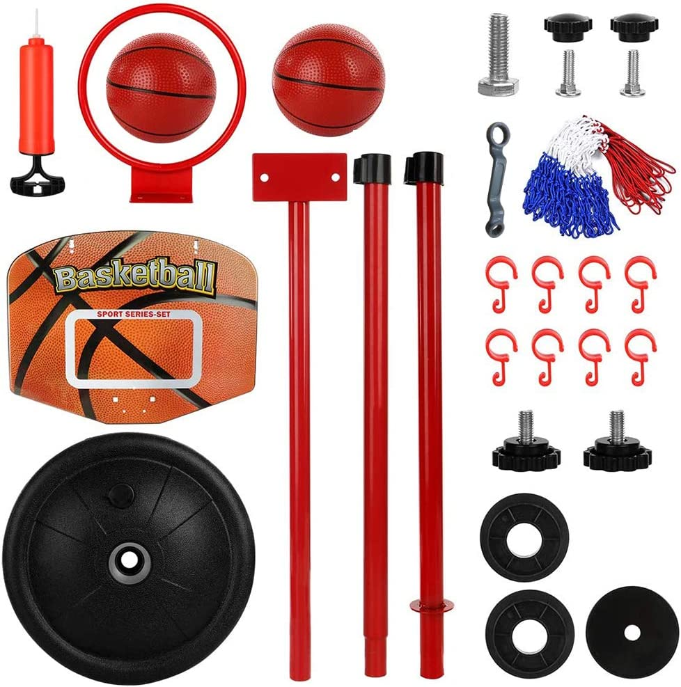 Net and Ball Pump Indoor and Outdoor Fun Toys for Toddlers 3 Basketball Hoop for Kids Years Old. Adjustable Height 30-62 Inches Portable Stand Basketball Set Sport Game Play Toys Set with Ball