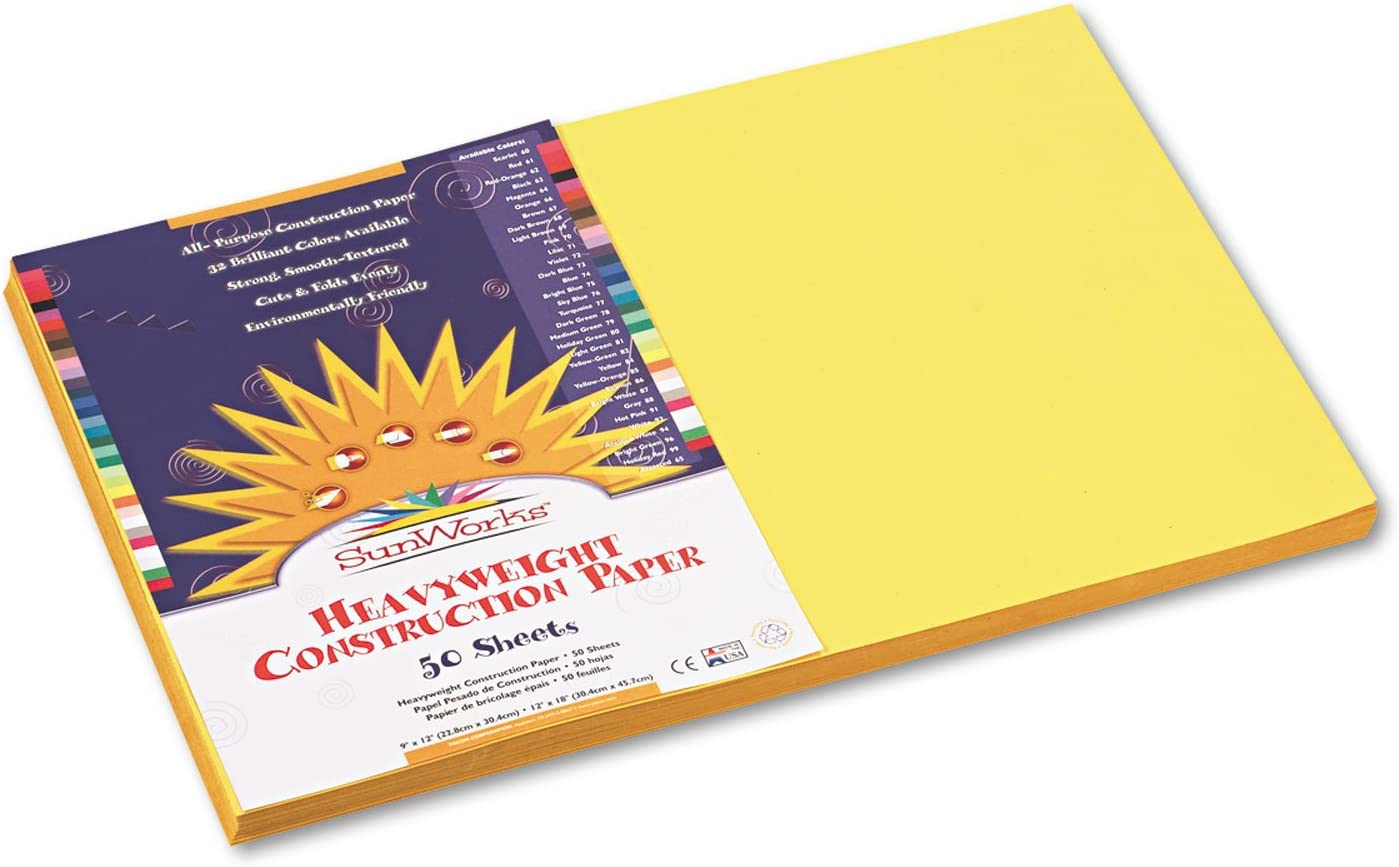 58 lbs SunWorks 8407 Construction Paper Yellow 12 x 18 50 Sheets//Pack