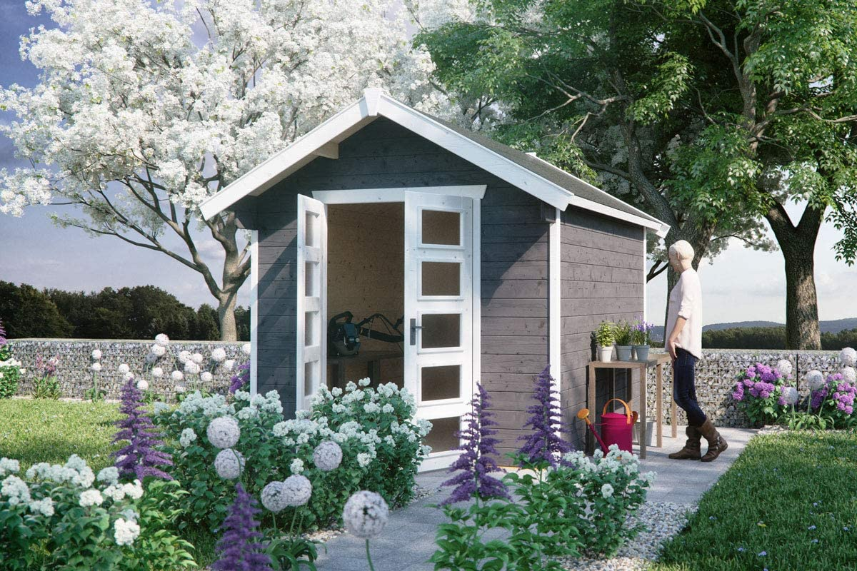 Skan Holz Cabaña Madera Jardín Casa hengelo 28 mm, Casas de jardín, Color Azul grisáceo, 300 x 250 x 273 cm: Amazon.es: Jardín