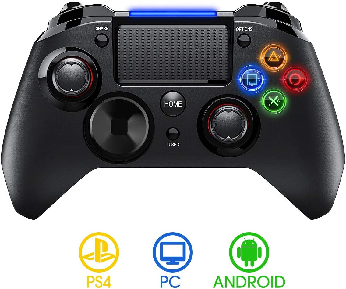 【Versión Nueva】PICTEK Mando PS4 Inalambrico, Diseño Asimétrico para Manos Grandes, Sixaxis/ Sensor Hall/ Doble Vibracion/ Turbo/ Puerto de Audio, para PS4/ PC (Windows XP/7/8/8.1/10) /Android/Steam