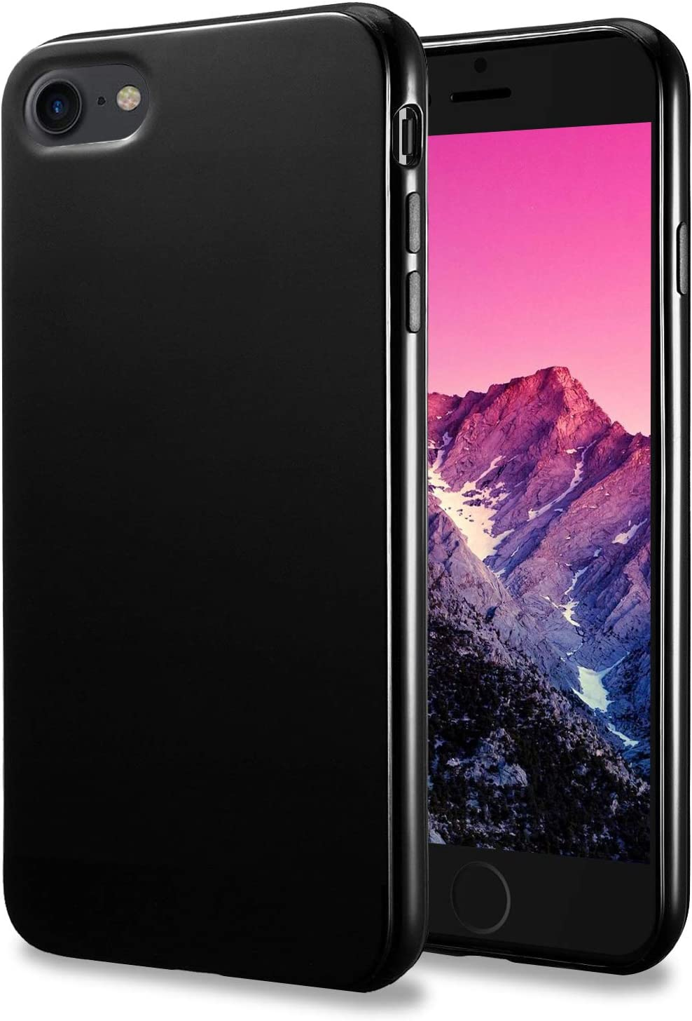 TENOC Phone Case Compatible for New Apple iPhone SE (2nd Generation) 2020 / iPhone 8 / iPhone 7 4.7 Inch, Slim Fit Cases Soft TPU Bumper Protective Cover, Glossy Black