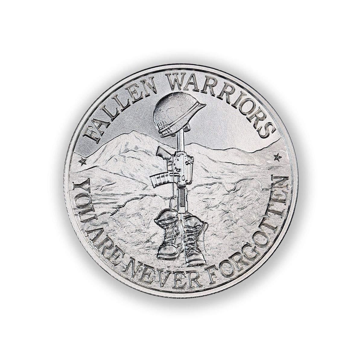 2 Troy Oz .999 Pure Silver Round - Battlefield Cross - Fallen Warriors by Silver Mint