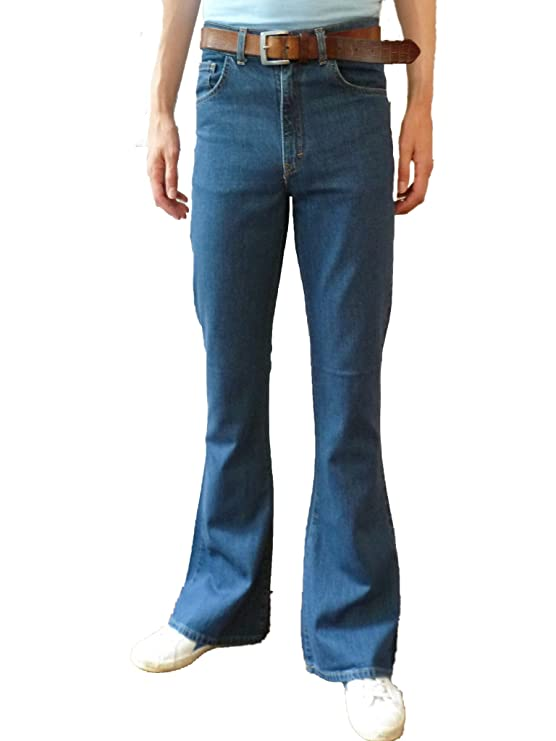 60s – 70s Mens Bell Bottom Jeans, Flares, Disco Pants High Rise 60s 70s Indie Mod Hippy Stonewash Blue $50.60 AT vintagedancer.com