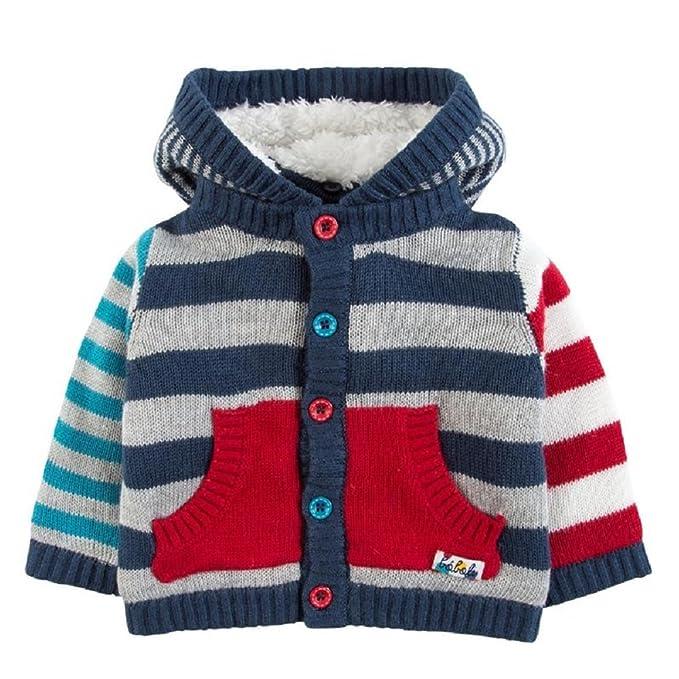 boboli Chaqueta Forrada Bebe niño de Punto Rayada Color roja y Azul (9M)