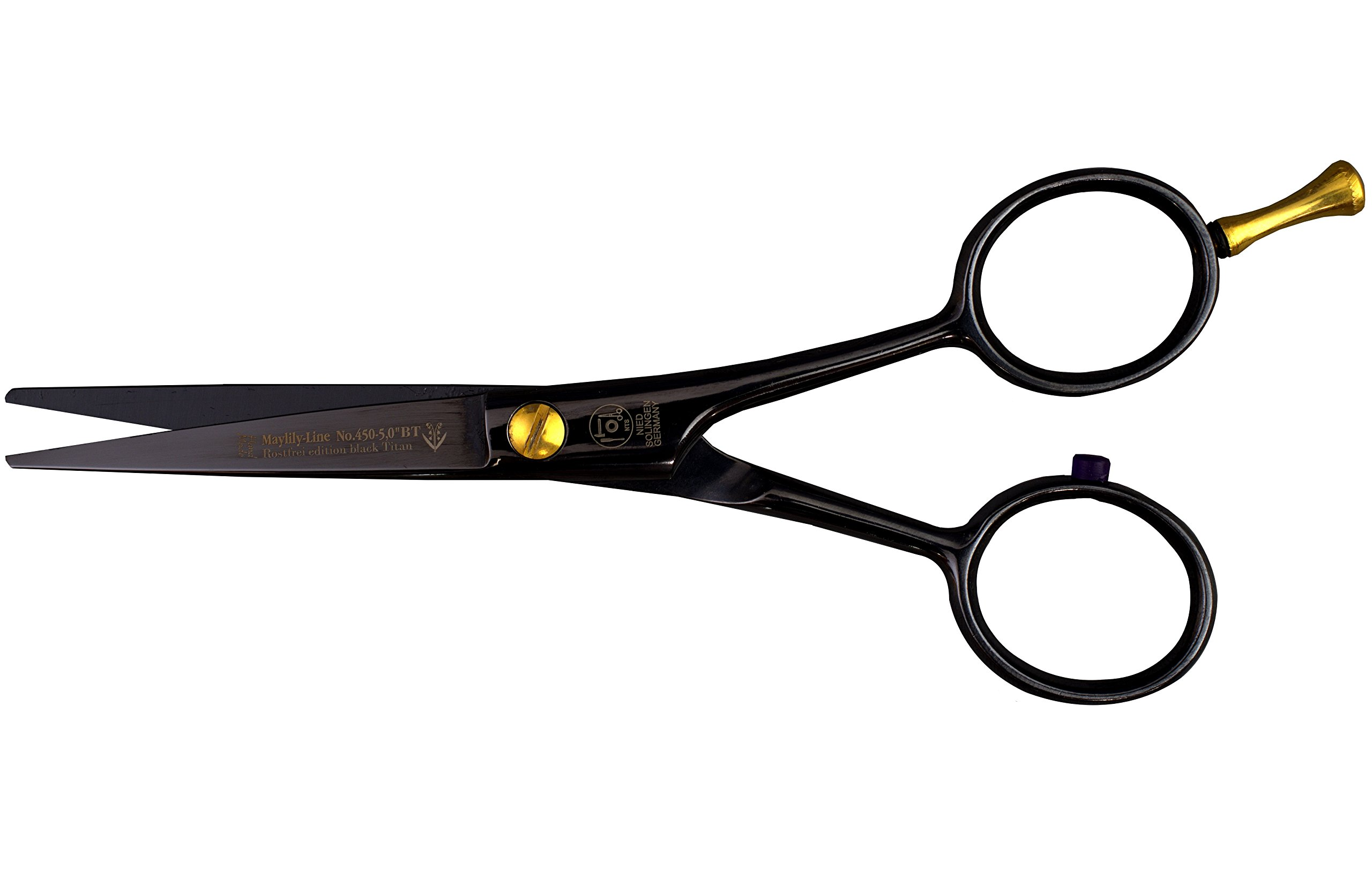 Maylily Titanium GERMANY Beard and Moustache Scissor, 5.125 Inches, Hollow Ground, Ice-Tempered Stainless Steel with Titanium Coating, Made in Solingen, Germany