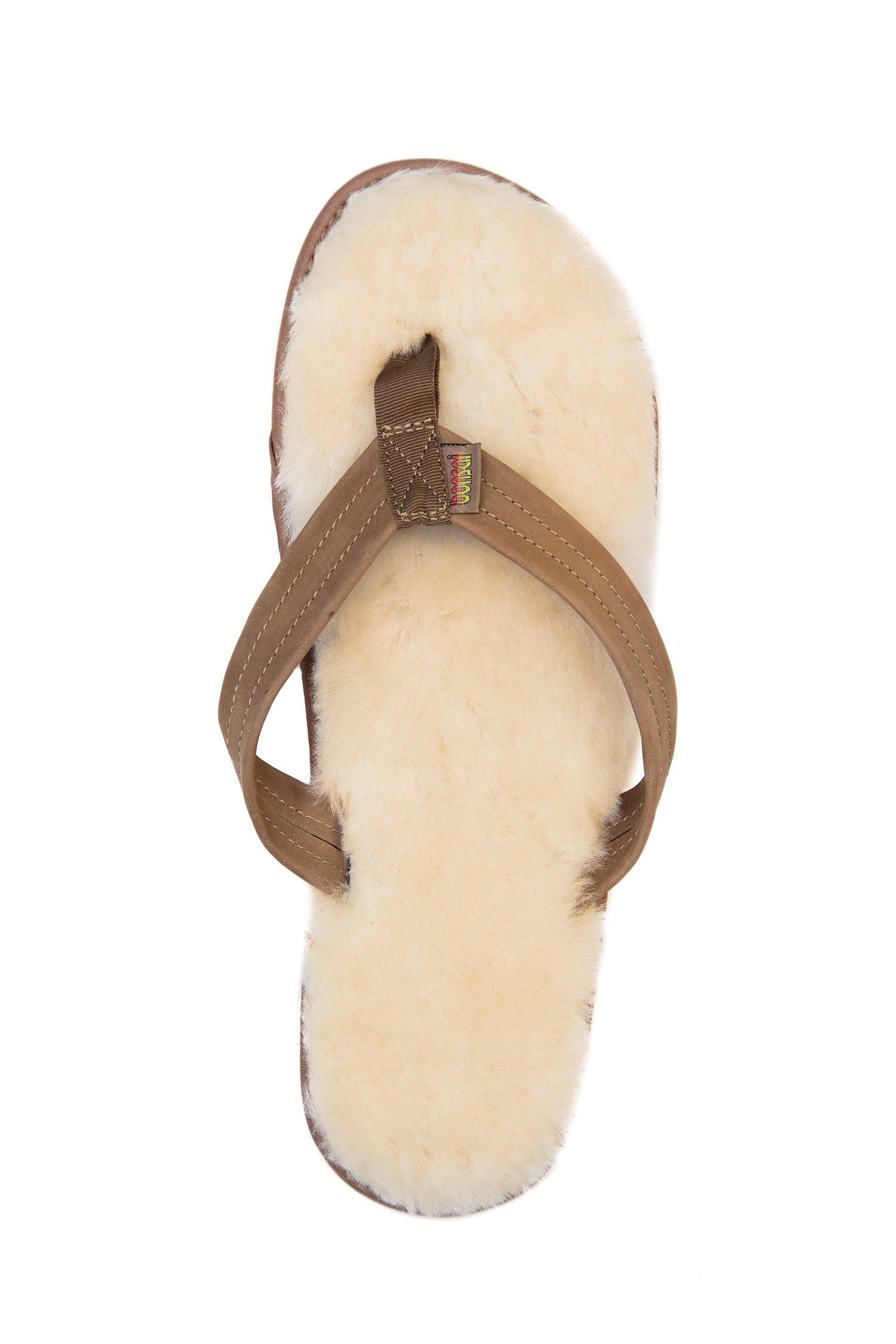 Bonsai Men's Sheepskin Sandal Flip Flops, Brown, 12 US by Bonsai Sandals (Image #4)