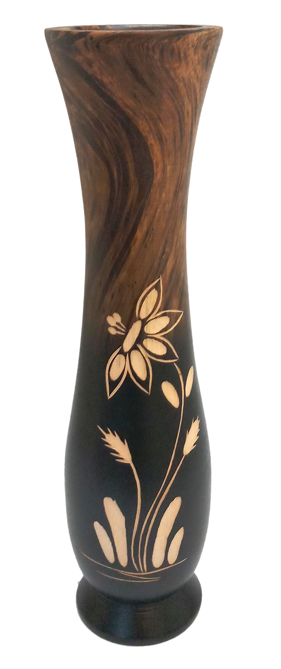 roro Handcarved Wood Floral Etched Vase, Two Tone Brown 12 inch by roro (Image #1)