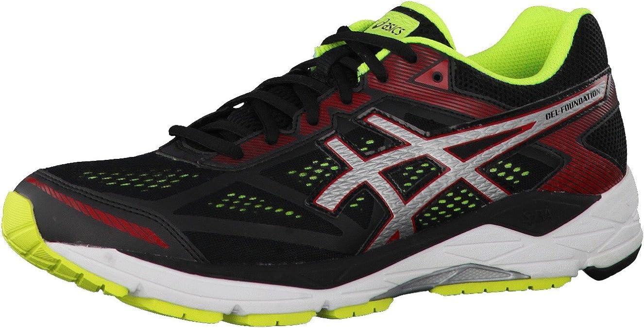 Asics - Gel-Foundation 12 (2e) - Zapatillas Running de Estabilidad - Black/Silver/Safety Yellow: Amazon.es: Zapatos y complementos