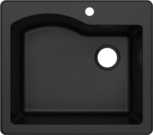 Kraus KGD-441BLACK Quarza Granite Kitchen Sink, 25-inch, Black