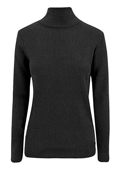 f93570fe9b6 Ladies Polo High Roll Neck Ribbed Knitted Sweater Womens Long Sleeve ...