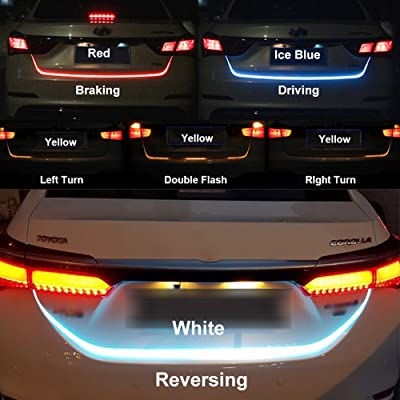 LED Strip Trunk Tail Brake Turn Signal Light Flow Type Ice Blue Red Yellow White: Automotive