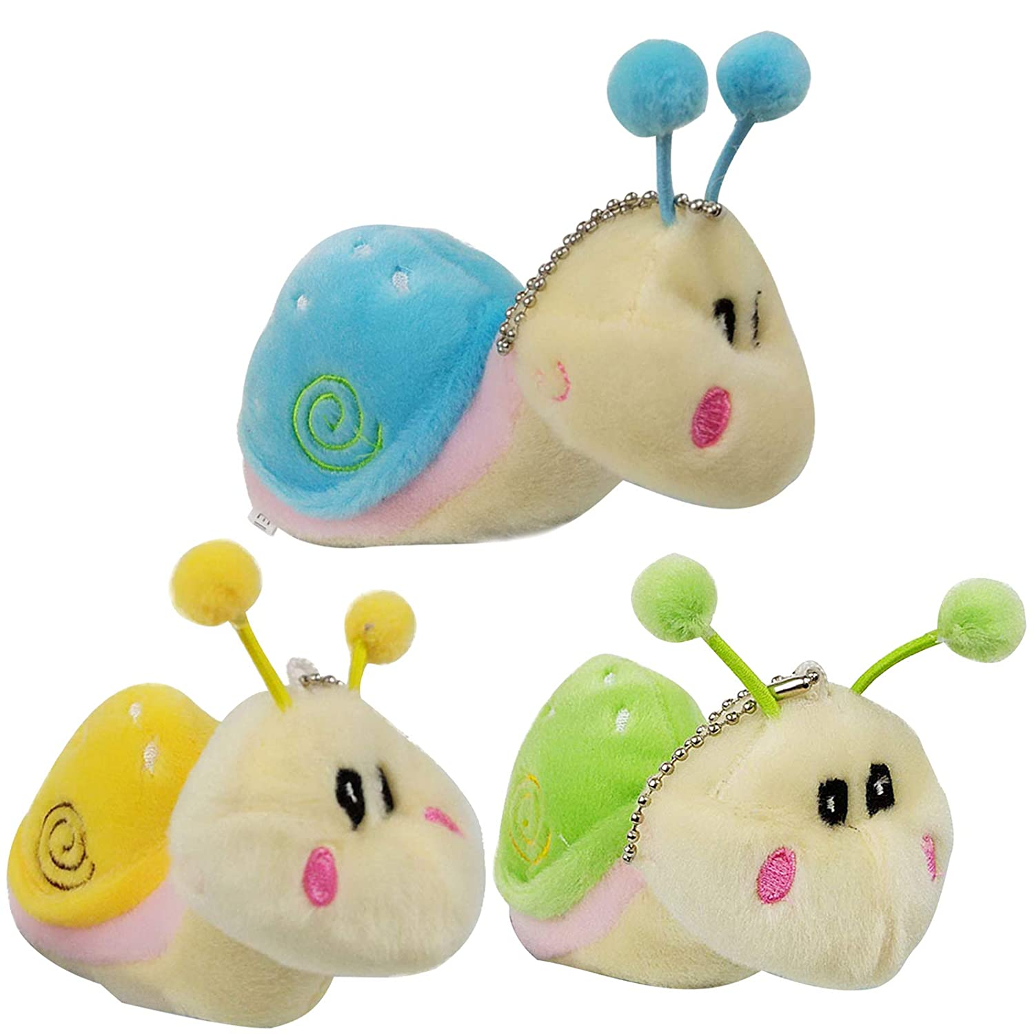 3 pcs Stuffed Animals Snail Plush Toys, Cute Fake Mini Beanie Doll, Little Stuff Animal Keychains, Valentines Christmas Gifts for Kids Boys Girls