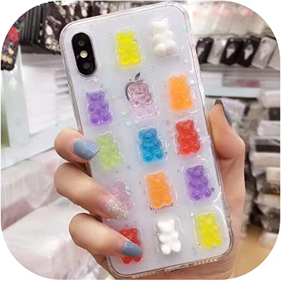Phone Case Candy Color Cute 3D Gummy Bear Soft Shell for iPhone 6 7 8 TPU Case for iPhone X XR XS Phone Case,for iPhone 7 8