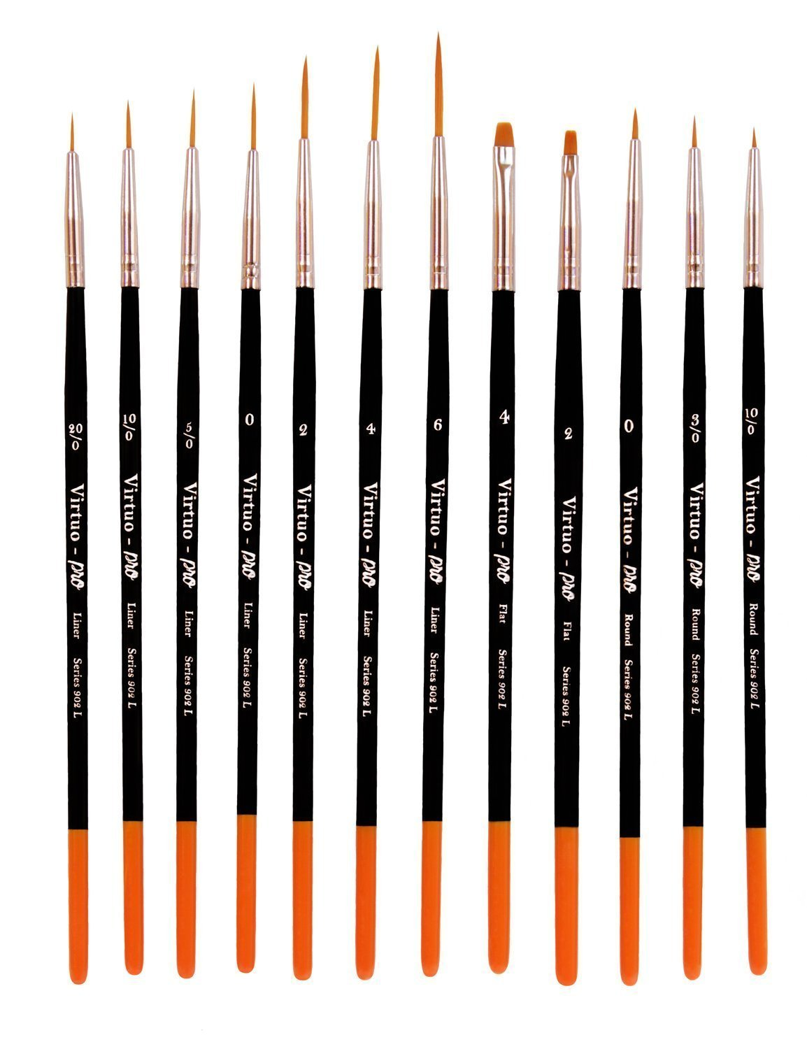 Virtuo - Pro Series 902L Detail Paint Brushes for Oil, Acrylic and Watercolors, Long Handles (12)