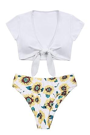 0e0e38d6c6d83 Lemonfish Women's Bikini Swimsuit Plus Size, Tie Knot Front Swimwear Set 2  Pieces Bathing Suits