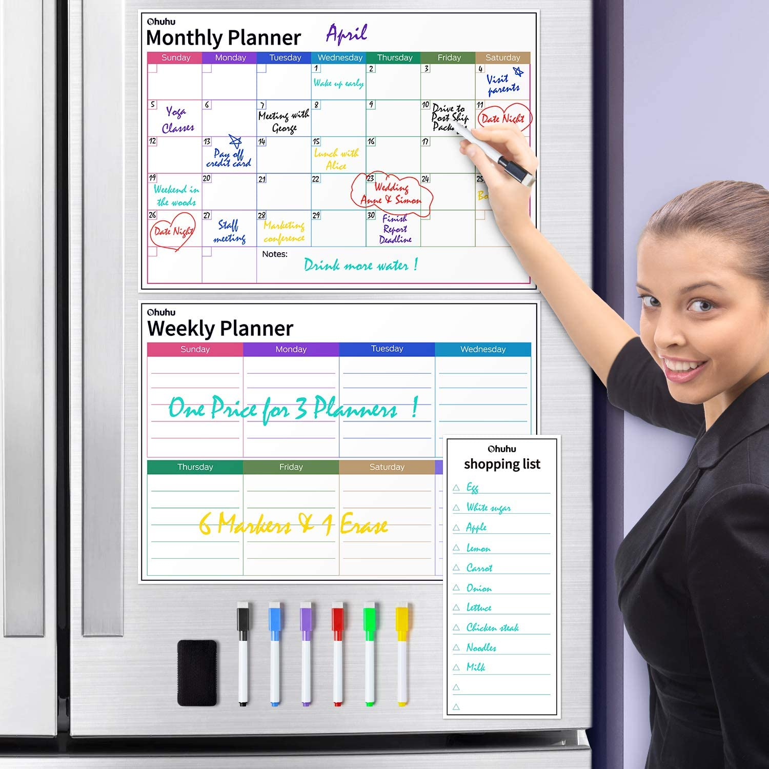 "Dry Erase Calendar for Fridge, Ohuhu Set of 3 Magnetic Whiteboard Calendars 17x12"" Monthly Calendars, 17x12"" Weekly Organizer & 5x12"" Daily Notepad with 6 Markers and a Eraser for Kitchen Refrigerator"