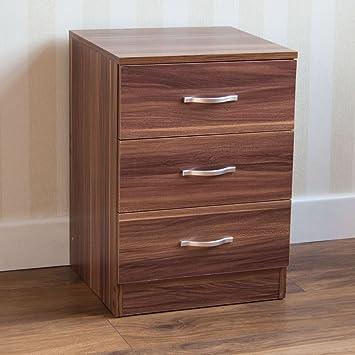 pretty nice 0ddd1 2d465 Vida Designs Walnut Bedside Drawer, Bedside Cabinet, 3 Drawer, Bedside  Table, Metal Handles and Runners
