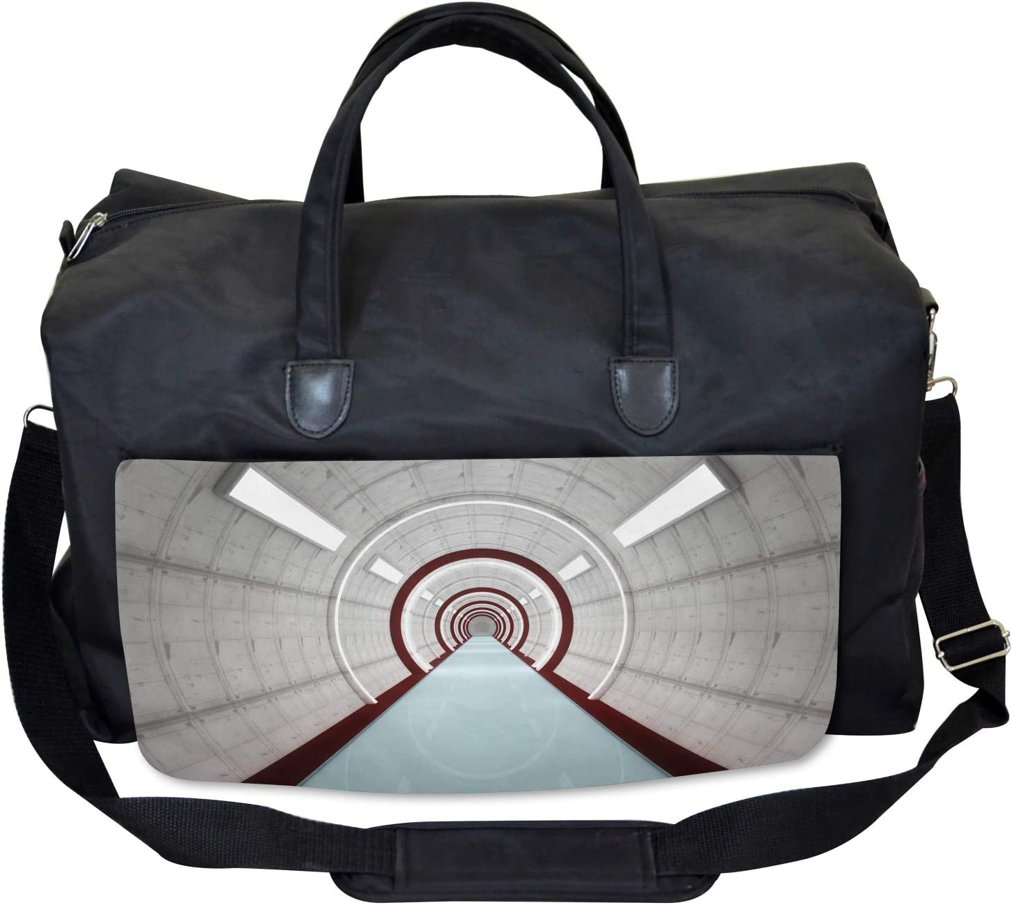Large Weekender Carry-on Futuristic Corridor Ambesonne Science Gym Bag