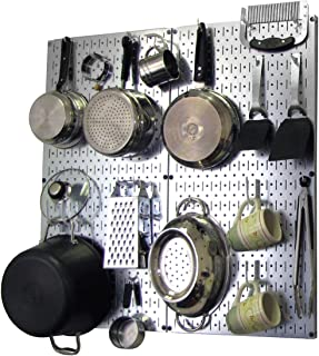product image for Wall Control Kitchen Pegboard Organizer Pots and Pans Pegboard Pack Storage and Organization Kit with Metallic Silver Pegboard and White Accessories