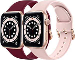 HAMIKAKA Band Compatible with Apple Watch Band 38mm 40mm 42mm 44mm, Silicone Buckle Replacement Strap Wristband Compatible with iwatch Apple Watch Series 6 5 4 3 2 1 SE Women/Men
