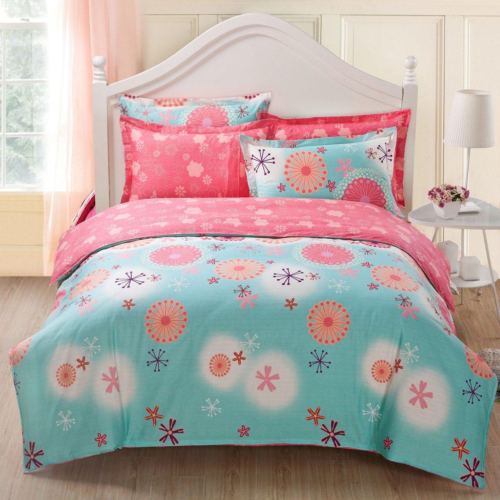 Floral Elegant Rural Style Print Pattern Girls Duvet Cover Premium Cotton Nature Blossom Colorful Reversible Kids Bedroom Comforter Cover Bedding Sets For Teen girls,Zipper Closure (HYBLUE, Twin)