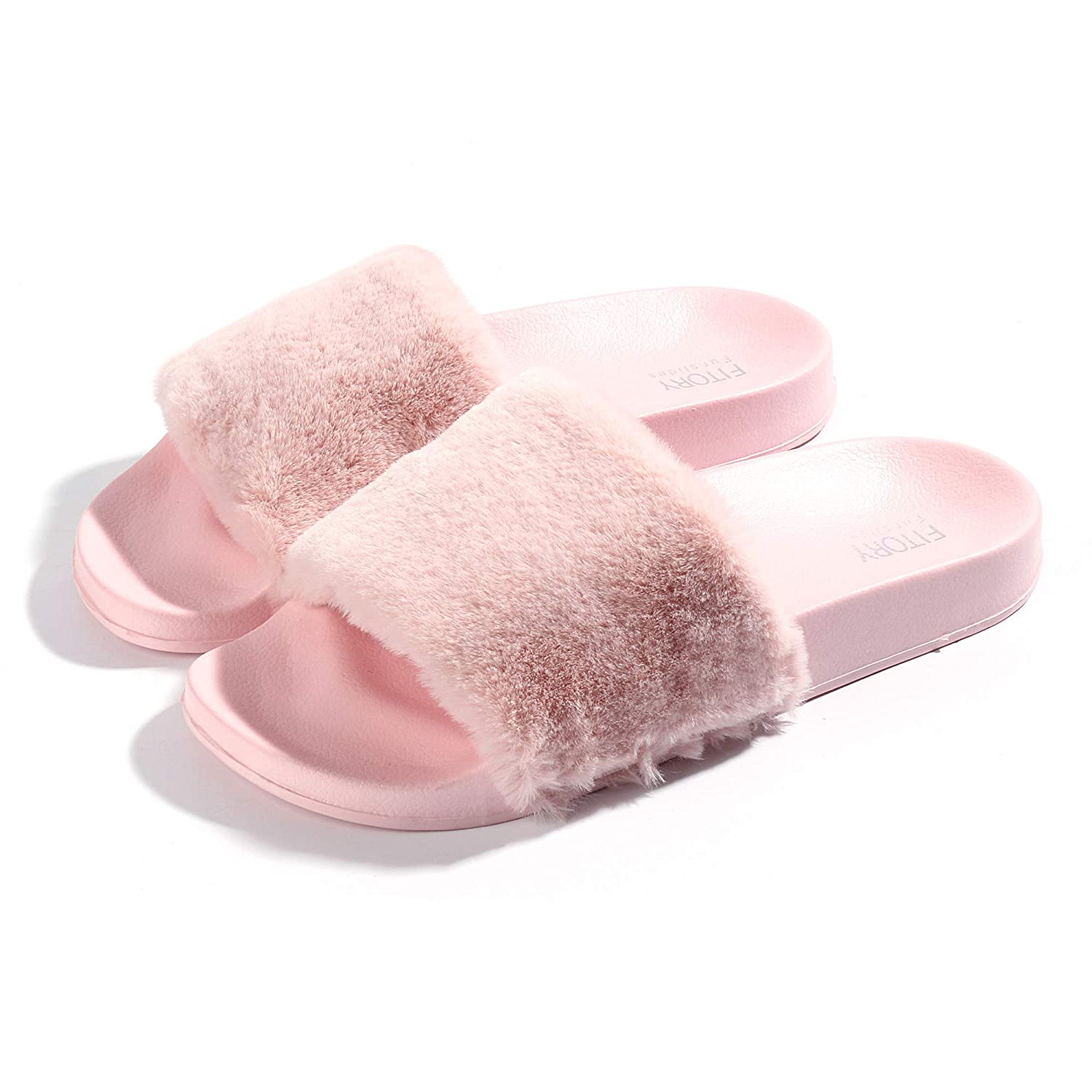 da36321dd FITORY Women Slides Slippers,Faux Fur Slide Slip On Flats Sandals Arch  Support Open Toe Soft Girls Indoor Outdoor Shoes: Amazon.ca: Shoes &  Handbags