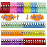 Aydino Large 20PCS and Small 60PCS Crafting, Binding Crochet Clips, Graft Holding, Sewing/Quilting Accessories, plastic and stainless steel Assorted coloure, 5.6x1.1cm, 2.7x1cm