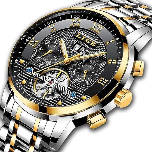 Relojes para Hombre Moda Waterprrof Reloj mecánico automático Hombres Marca Top Luxury LIGE Reloj Deportes Cronógrafo Fecha Reloj de Pulsera Reloj de Acero ...