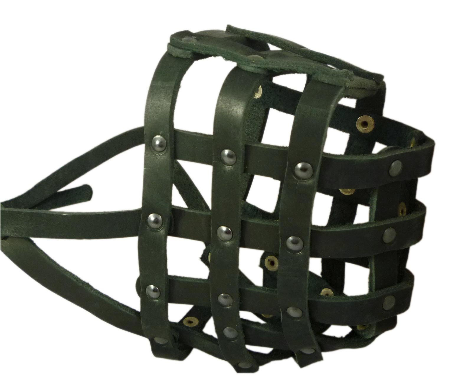 Real Leather Dog Basket Muzzle #115 Black (Circumference 18'', Snout Length 4.7'') Mastiff, Great Dane