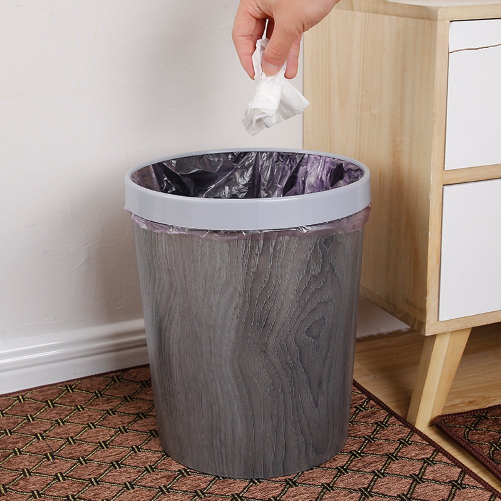 EODNCKJFG Plastic wood grain trash can,Bedroom bathroom,Office,Hotel rubbish bin,Round without cover-A