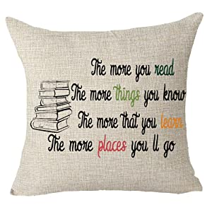 """Queen's designer Book Lover Reading Book Club The More You Read The More Things You Know Cotton Linen Decorative Throw Pillow Case Cushion Cover Square 18"""" X18 (28)"""