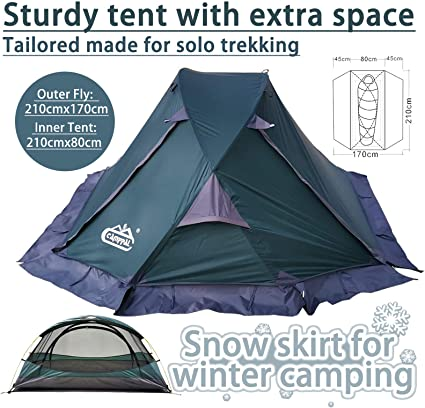 Professional High Quality Outdoor Four Seasons Mountain Tent for 2 Persons Green