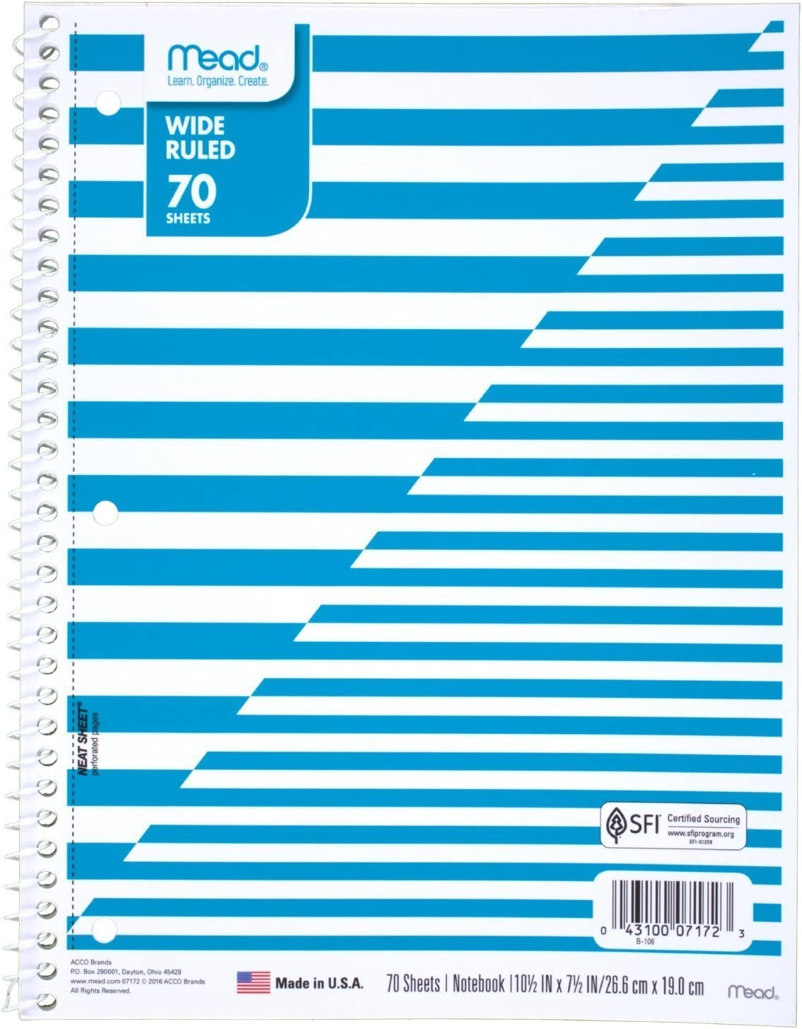Amazon Com Mead Spiral Notebook 1 Subject Wide Ruled Paper 70 Sheets Design Will Vary 1 Count 07172 Office Products