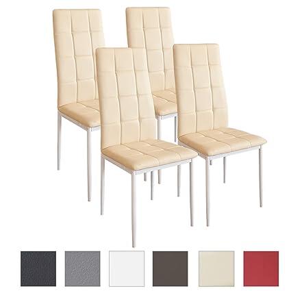 Albatros sedia per sala da pranzo RIMINI, Set di 4 sedie, beige, SGS ...