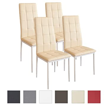 Albatros - Set di 4 sedie per sala da pranzo RIMINI, colore: Beige ...