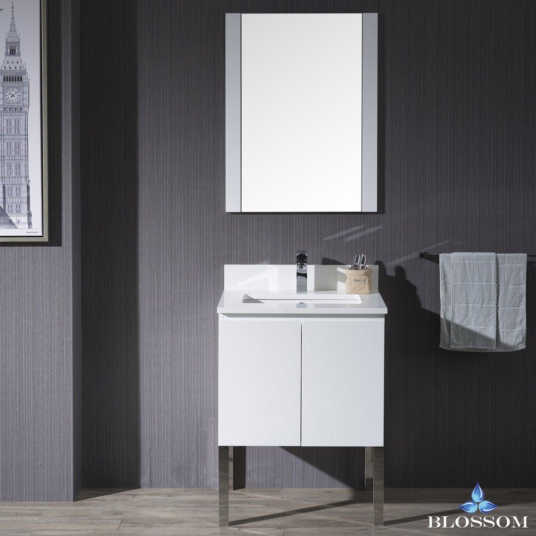 BLOSSOM 000-24-01-L9 Monaco 24'' Vanity Set with Mirror and Chrome Legs Matte White