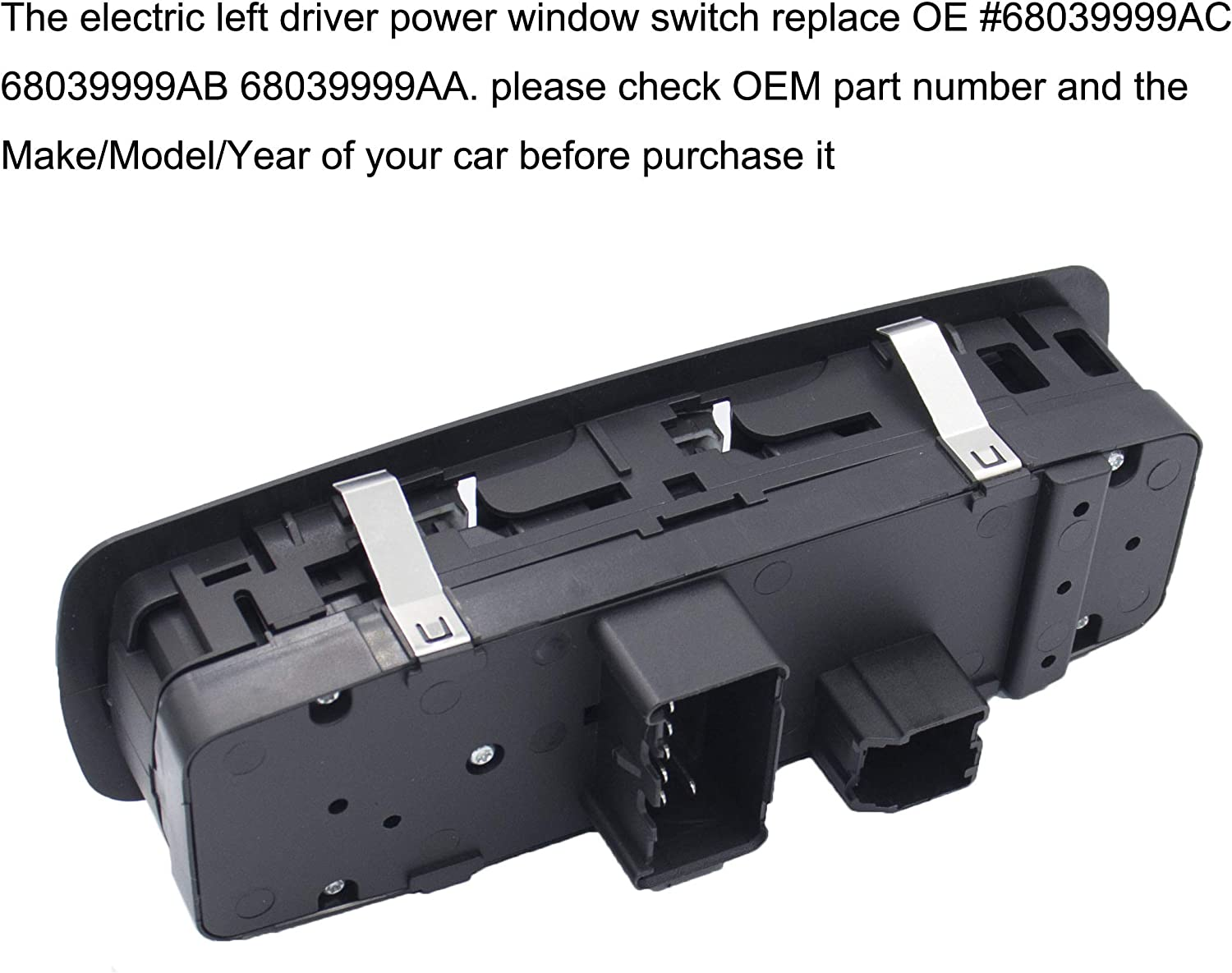 for Dodge Journey 2009-2014 3 PINS + 9 PINS 68039999AA 68039999AC Master Power Window Switch Left Driver Side Fit for Dodge Grand Caravan 2008-2010 for Chrysler Town /& Country 2008-2009
