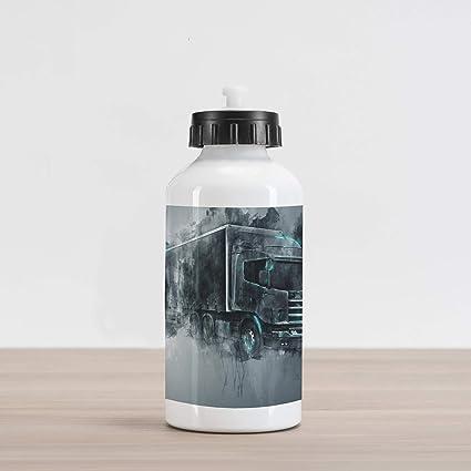 Amazon com: Ambesonne Truck Aluminum Water Bottle, Greyscale