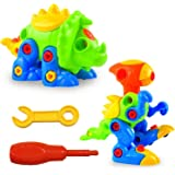 Pull Along Toys, LURICO Assemble and Disassemble Dinosaurs DIY Building Construction Toy Take - Apart Dinosaur Puzzle for Kids over 3 Years Old (2 Sets )