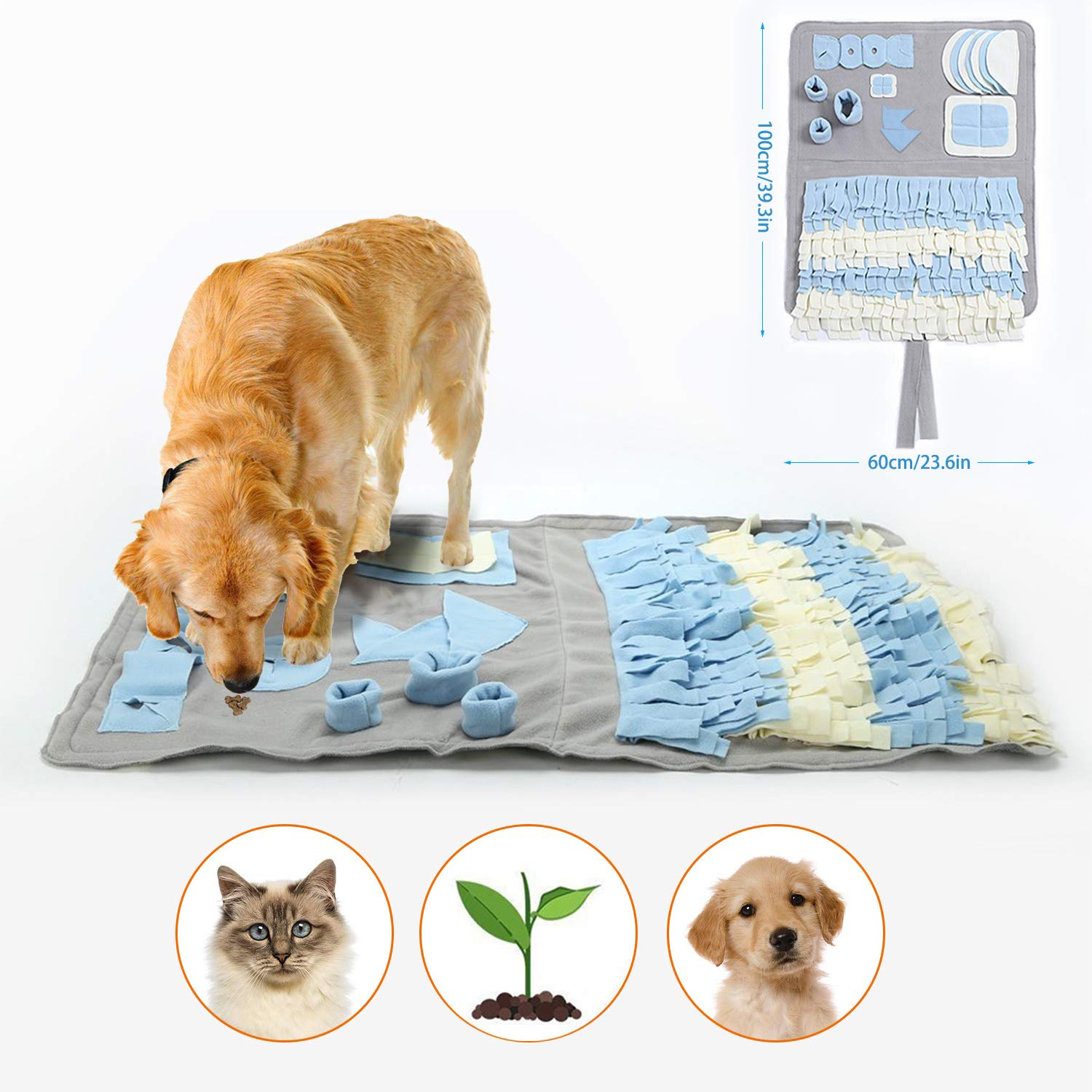 Snuffle Mat for Dogs Handmade Dog Training Mat Play Mat Dog Nosework Blanket Encourages Natural Foraging Skills (100x60cm) by GUSTYLE (Image #1)