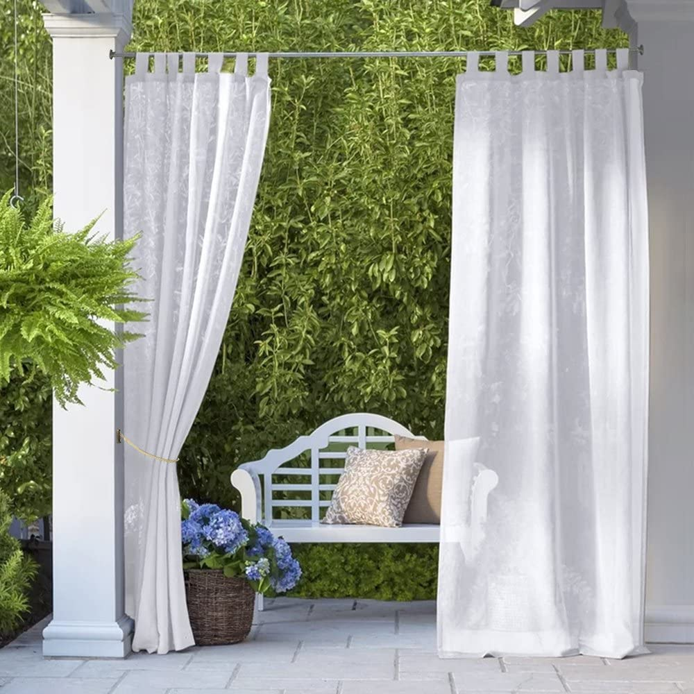 RYB HOME Outdoor Sheer Curtains - Outdoor Deck Linen Look, Semitransparent Sheer, Quick Dry Indoor Outdoor Drapes for Gazebo / Patio / Balcony, Bonus Ropes Included, Wide 54 by Long 84 inch, 2 Panels